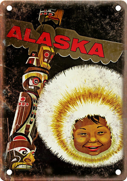 Alaska Vintage Travel Poster Art Metal Sign
