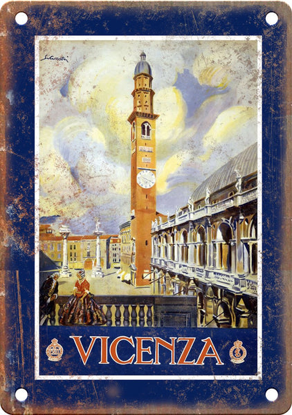 Vicenza Vintage Travel Poster Art Metal Sign
