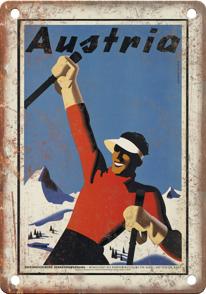 Austria Vintage Ski Travel Poster Metal Sign