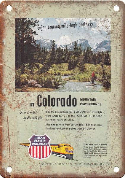 Union Pacific Railroad Colorado Poster Metal Sign