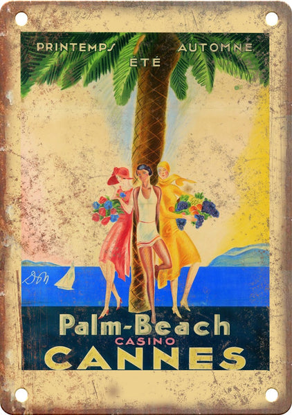 Palm Beach Casino Cannes Travel Poster Metal Sign