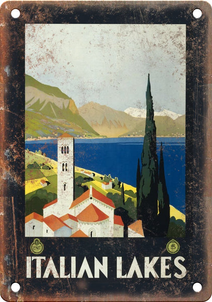 Italian Lakes Vintage Travel Poster Art Metal Sign