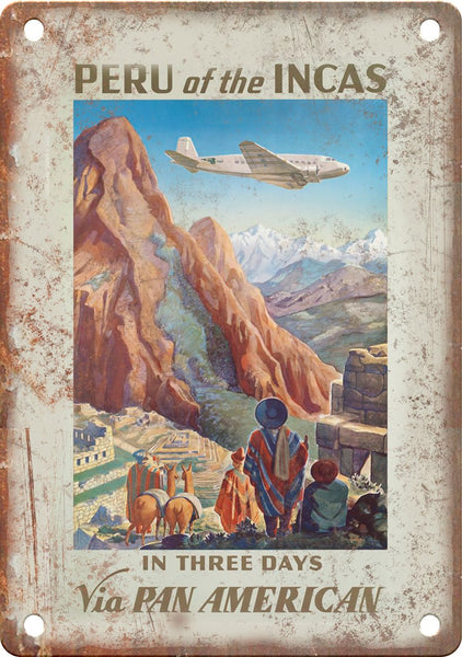 Peru Pan American Airways Travel Poster Metal Sign
