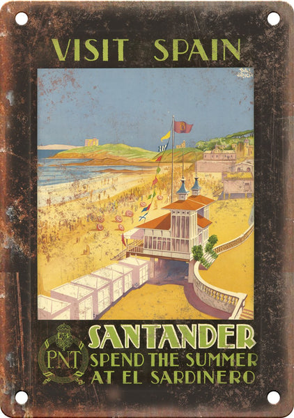 Spain Santander Travel Poster Art Metal Sign