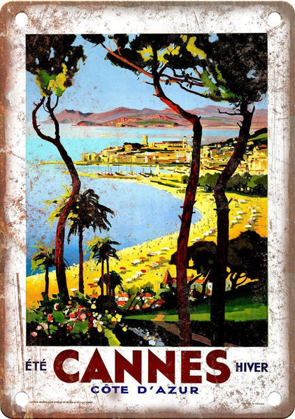 Cannes Vintage Travel Poster Art Metal Sign