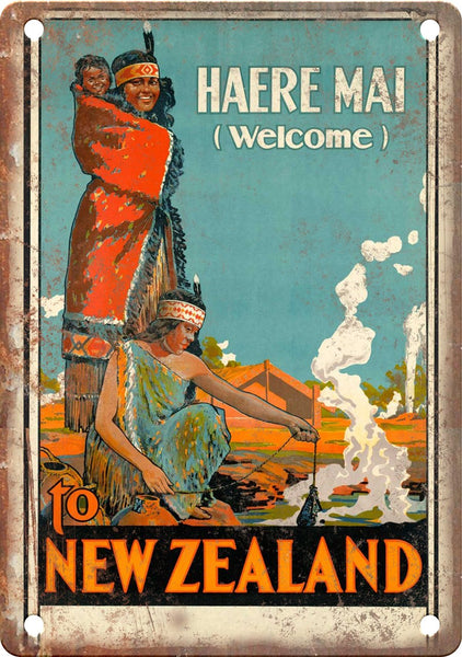 Haere Mai New Zealand Travel Poster Art Metal Sign