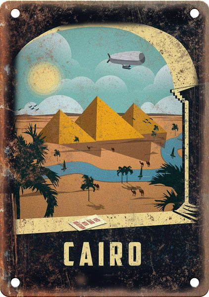 Cairo Egypt Vintage Travel Poster Art Metal Sign
