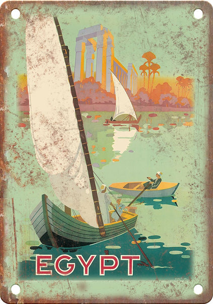 Vintage Egypt Travel Poster Art Metal Sign