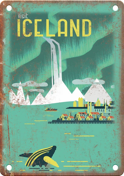 Iceland Vintage Travel Poster Art Metal Sign