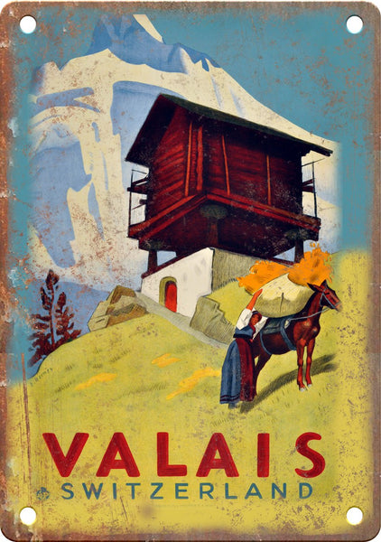 Valais Switzerland Travel Poster Art Metal Sign
