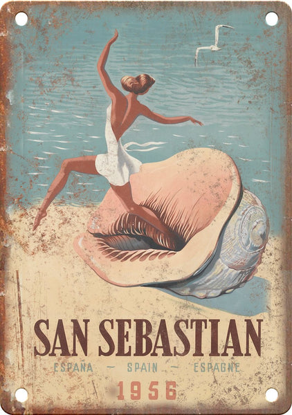 San Sebastian Spain Vintage Travel Poster Metal Sign