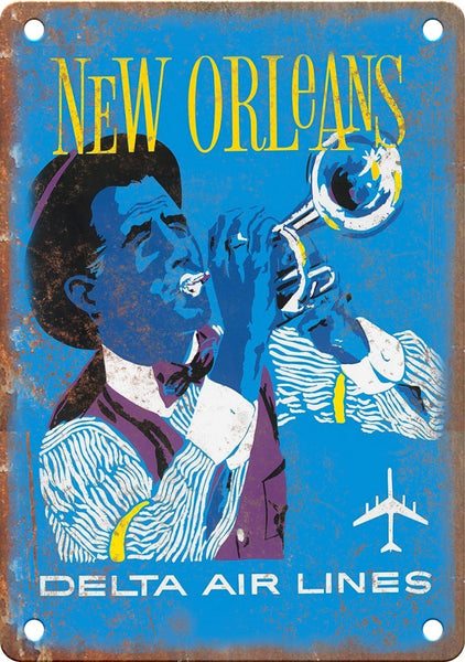 New Orleans Delta Air Lines Travel Poster Metal Sign