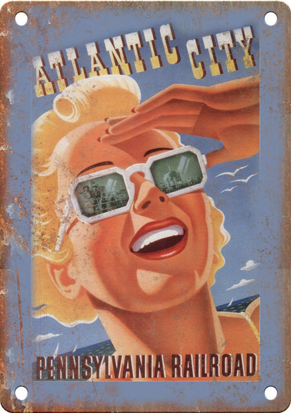 Atlantic City Pennsylvania Travel Poster Metal Sign