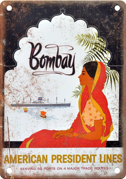 Bombay India Vintage Travel Poster Art Metal Sign
