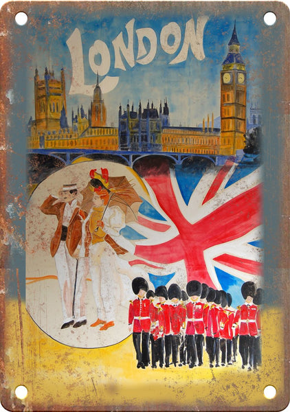 Vintage London England Travel Poster Metal Sign