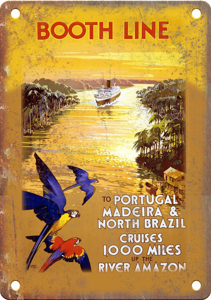 Booth Line Portugal Brazil Travel Poster Metal Sign