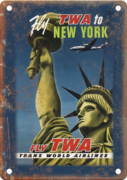 TWA Airlines New York City Travel Poster Metal Sign