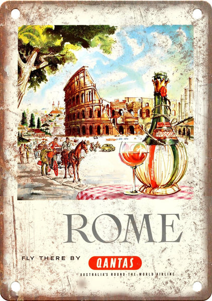 Rome Italy Vintage Travel Poster Metal Sign