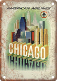 American Airlines Chicago Travel Poster Metal Sign