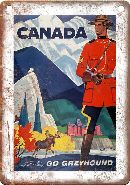 Canada Greyhound Vintage Travel Poster Art Metal Sign