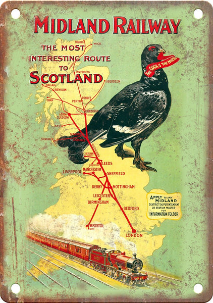 Midland Railway Scotland Travel Poster Metal Sign