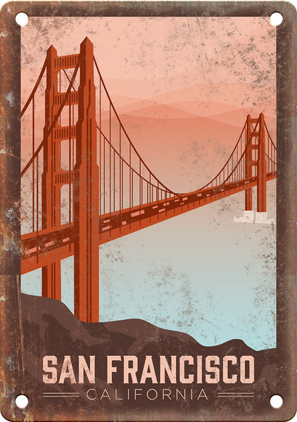 San Francisco California Travel Poster Art Metal Sign