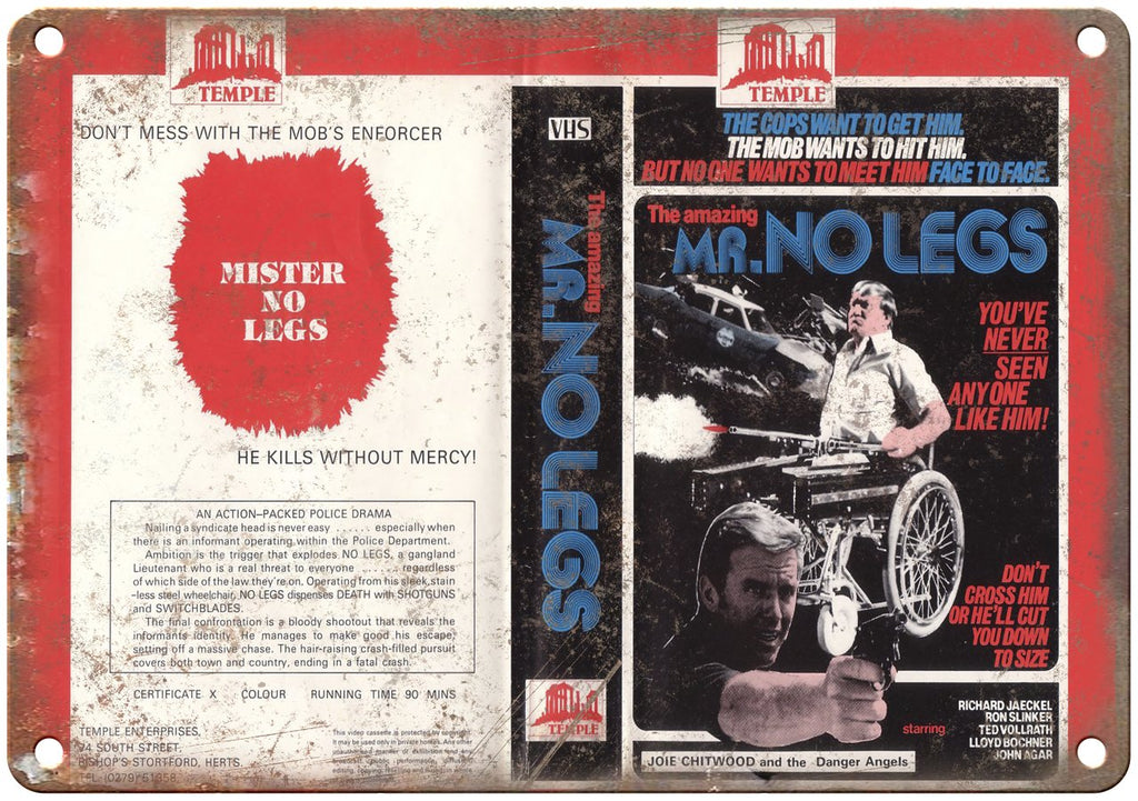 Mr. No Legs Temple Enterprises VHS Cover Art Metal Sign