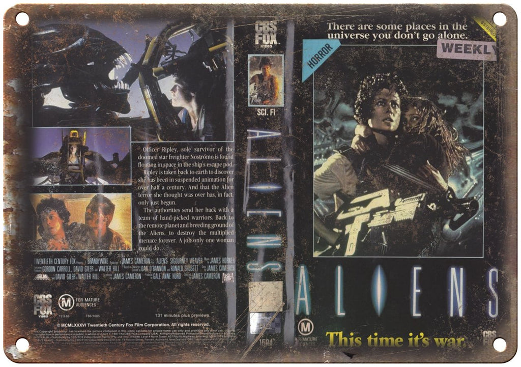 Aliens CBS Fox Video VHS Box Art Metal Sign