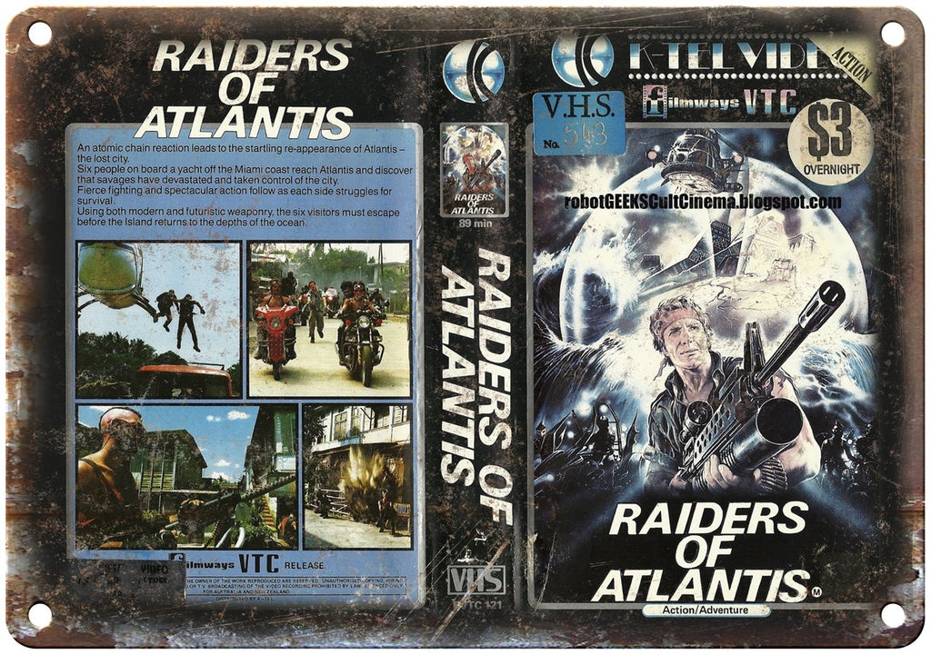 Raiders of Atlantis Filmways VTC VHS Art Metal Sign