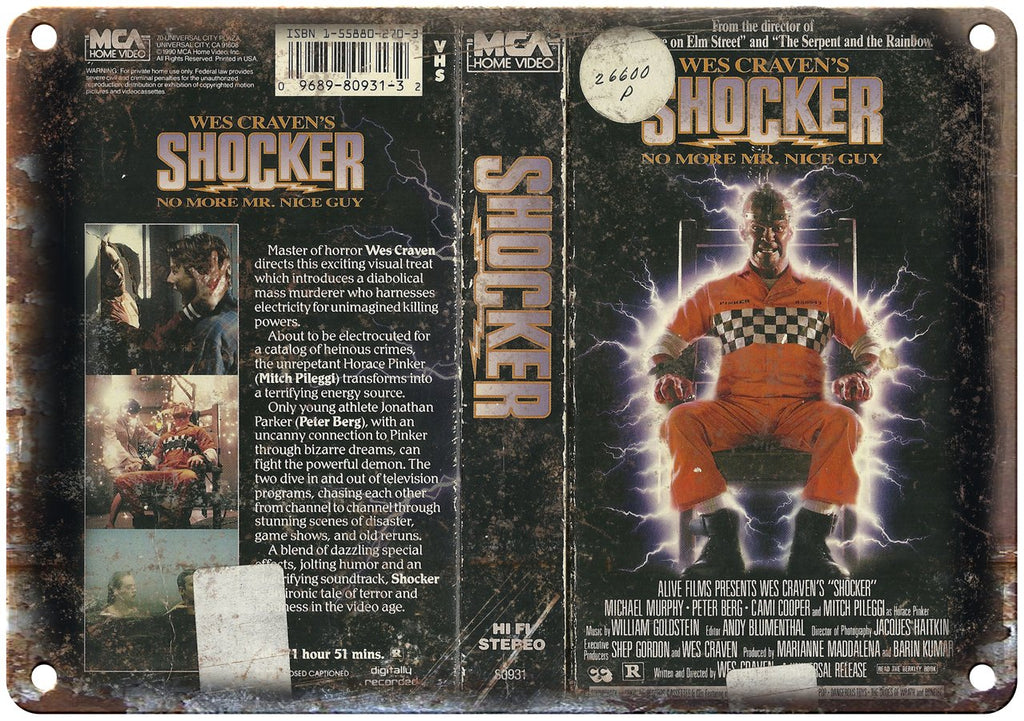 Wes Cravens Shocker MCA Home Video Metal Sign