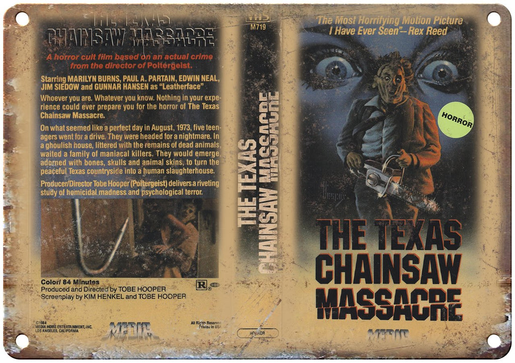 Media Home Video Texas Chainsaw Massacre Metal Sign