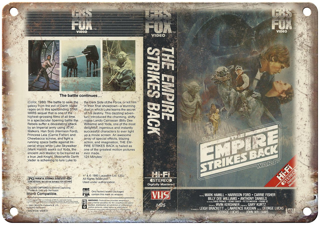 The Empire Strikes Back VHS Cover Art Metal Sign