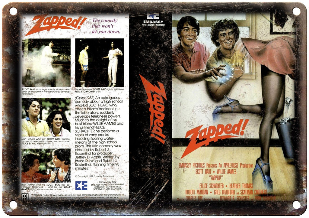Embassy Home Video Zapped! VHS Cover Art Metal Sign
