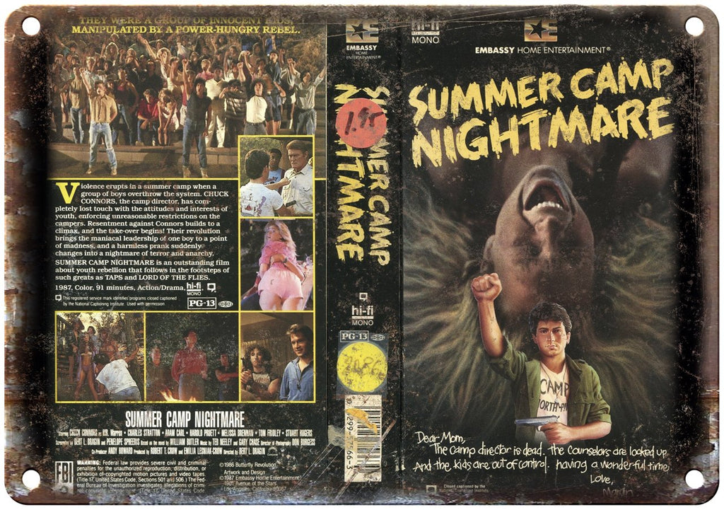 Embassy Home Ent Summer Camp Nightmare VHS Metal Sign