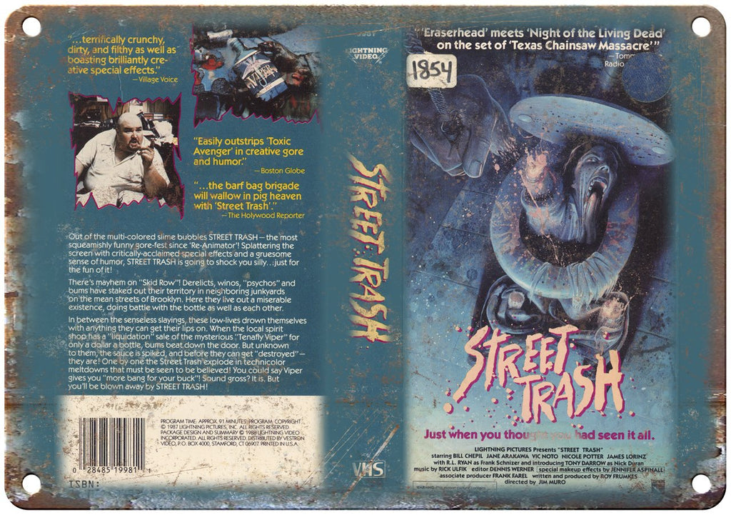Lightning Video VHS Street Trash Box Art Metal Sign