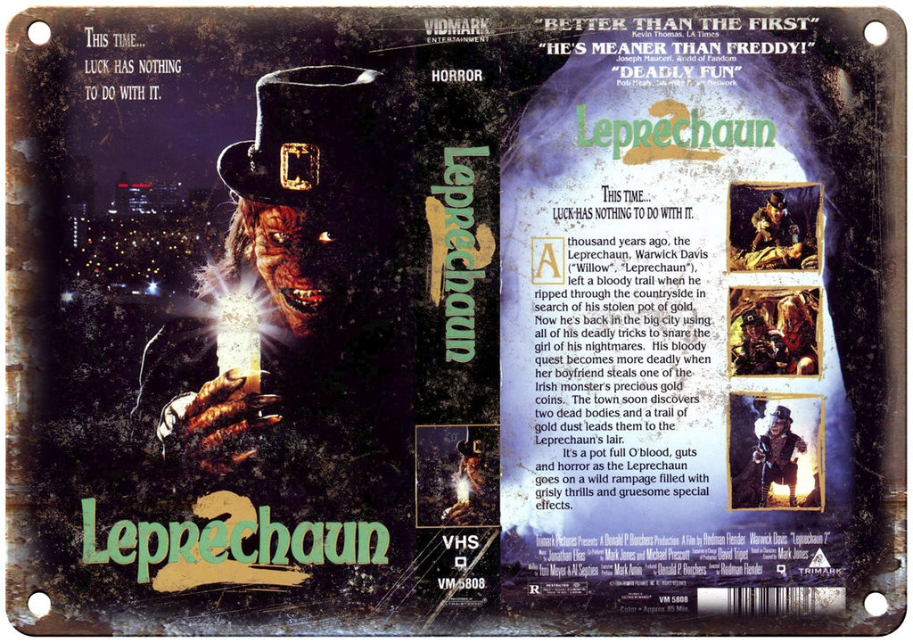Leprechaun 2 Warwick Davis VHS Box Art Metal Sign