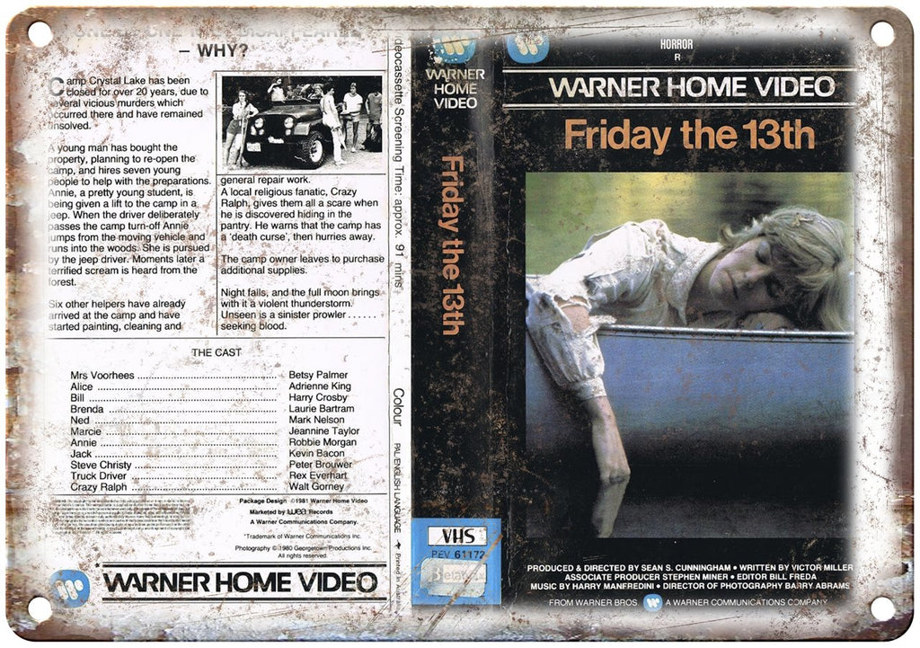 Warner Home Video Friday The 13th Jason VHS Metal Sign
