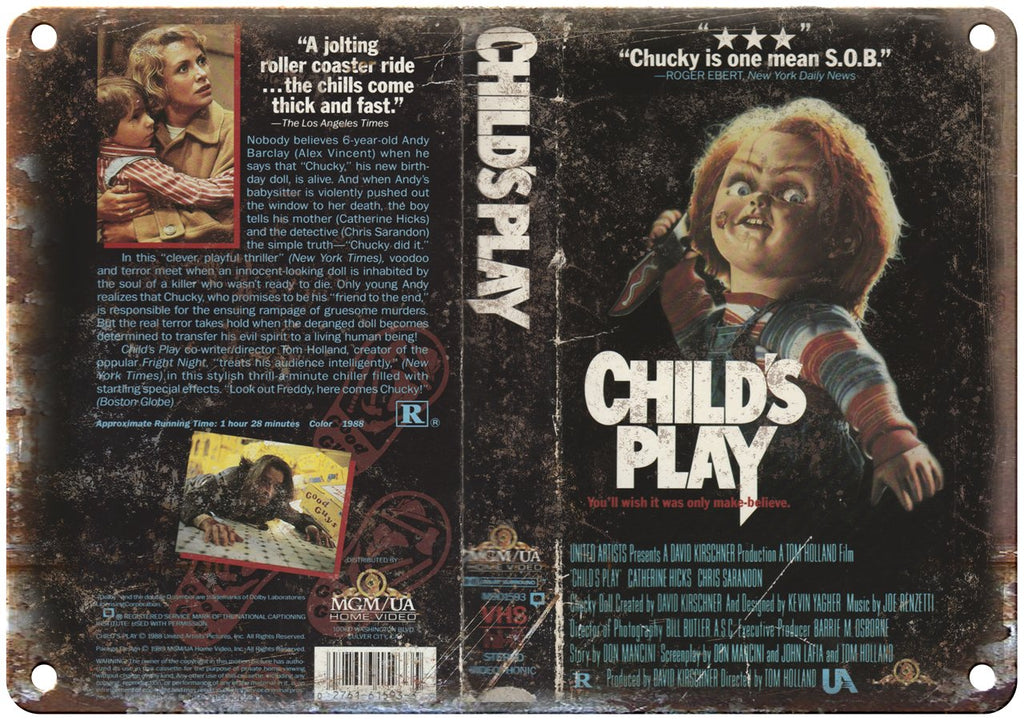 Child's Play Chucky VHS Cover Art MGM Video Metal Sign