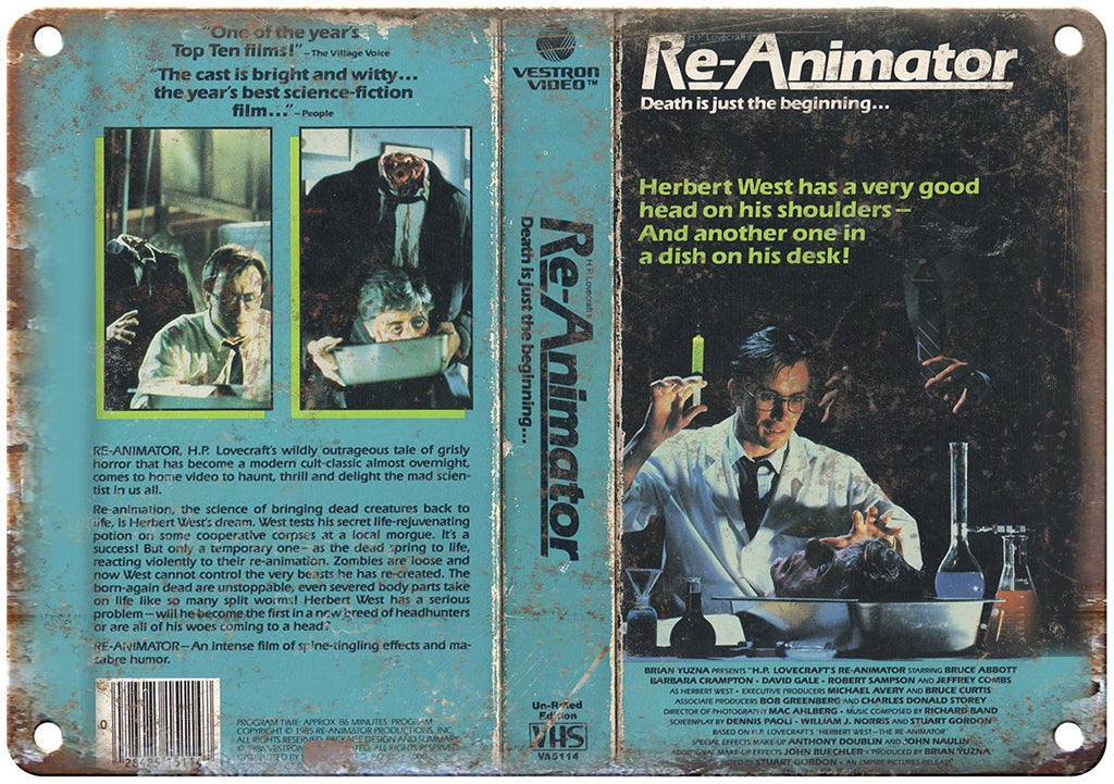 Re-Animator Vestron Video VHS Box Art Metal Sign