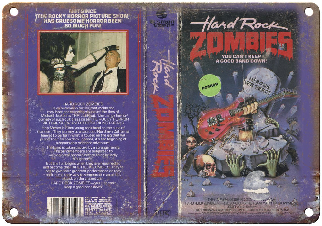 Hard Rock Zombies Vestron Video VHS Box Art Metal Sign