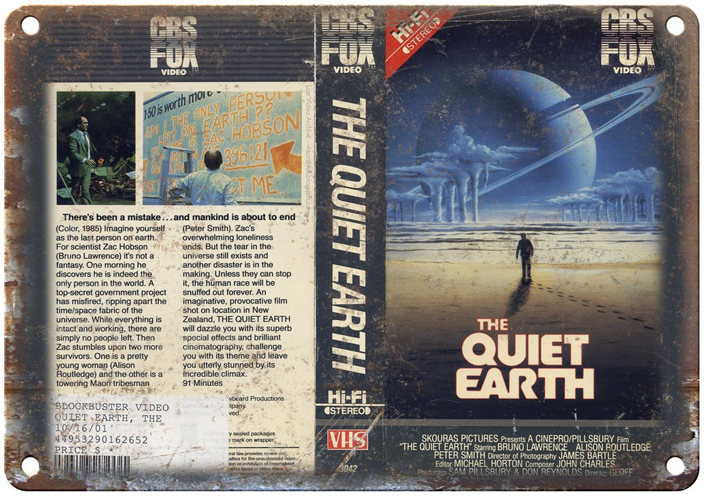 The Quiet Earth CBS Fox Video VHS Box Art Metal Sign