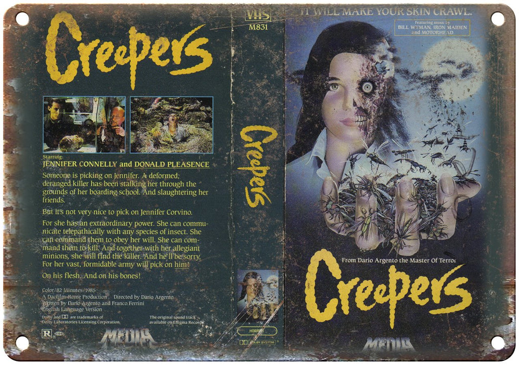 Creepers Media Video VHS Box Art Metal Sign