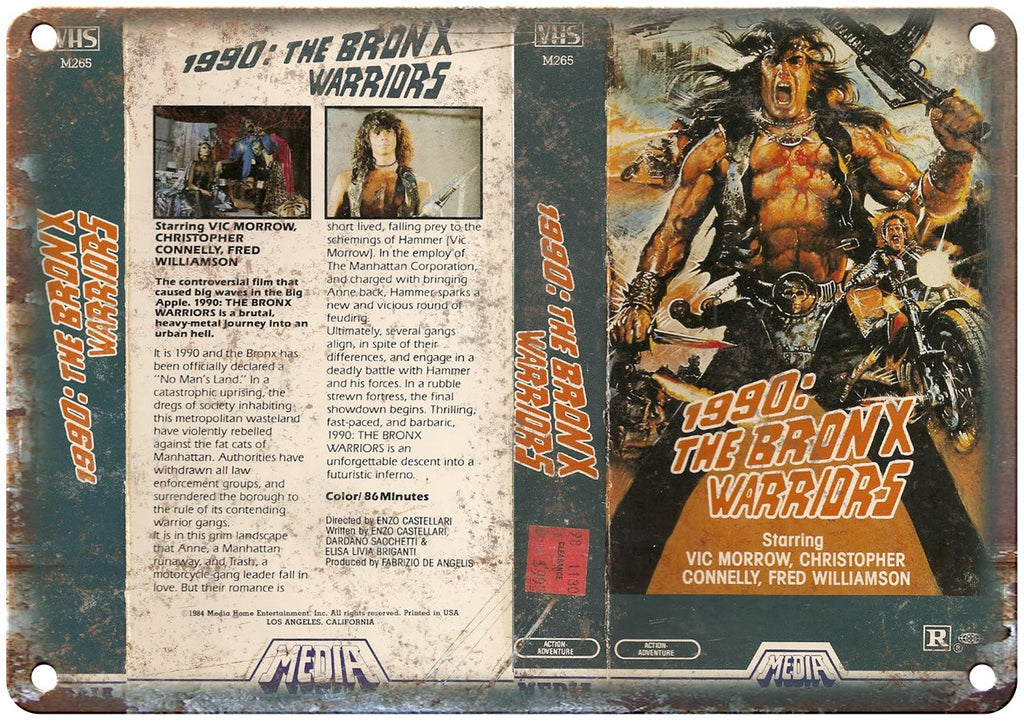 1990 Bronx Warriors Media Home Video VHS Art Metal Sign