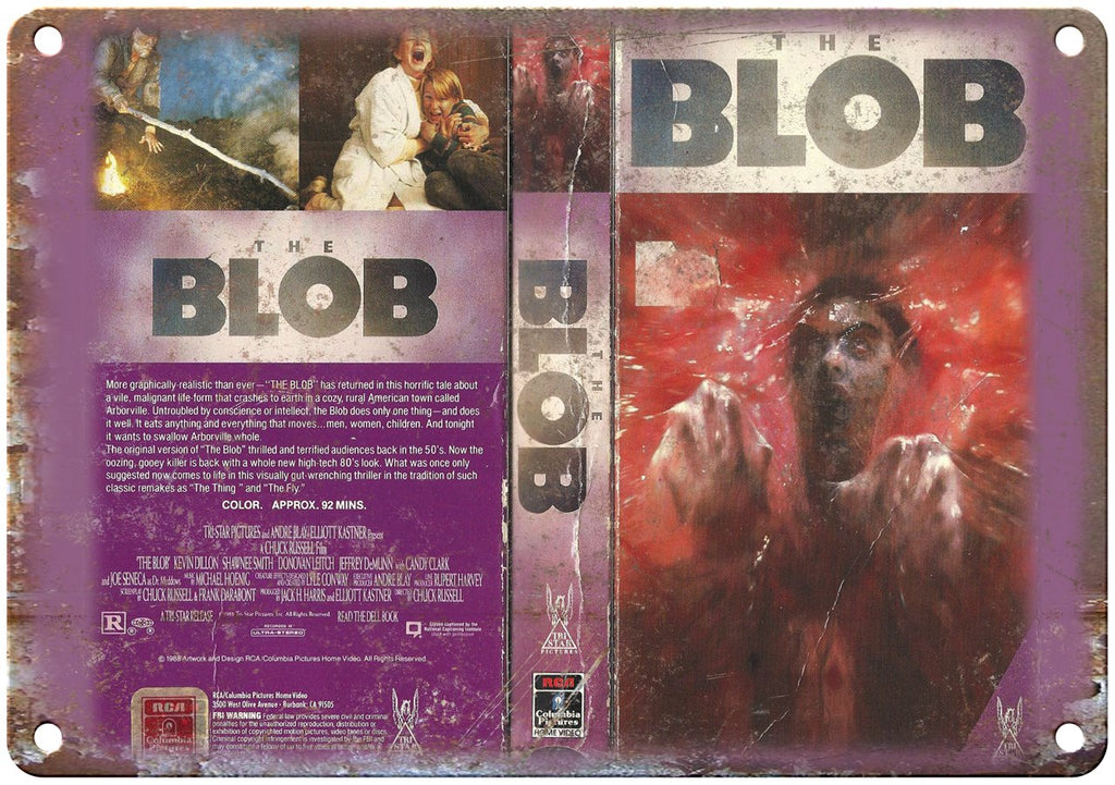 The Blob Tri Star Pictures VHS Box Art Metal Sign
