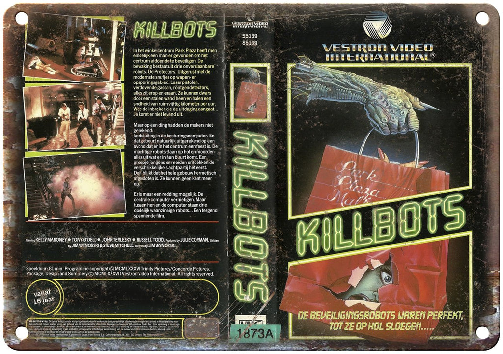 Killbots Vestron Video International VHS Cover Art Metal Sign