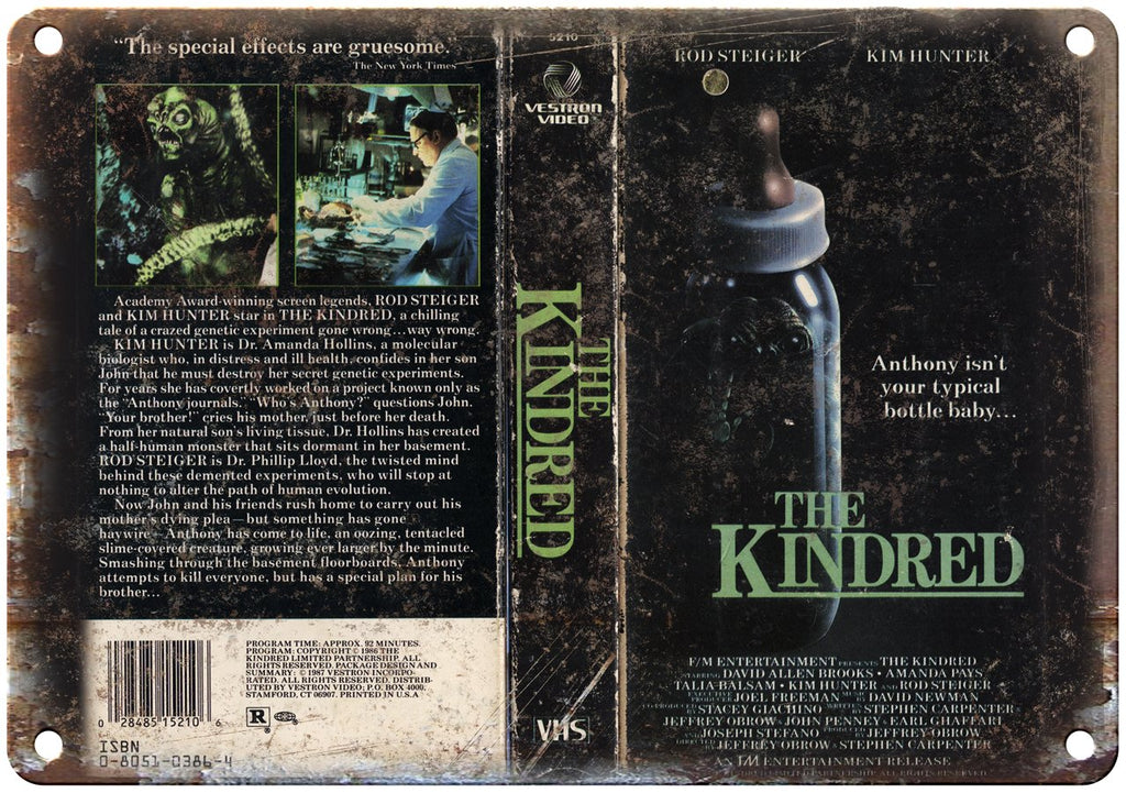 The Kindred Vestron Home Video VHS Cover Art Metal Sign