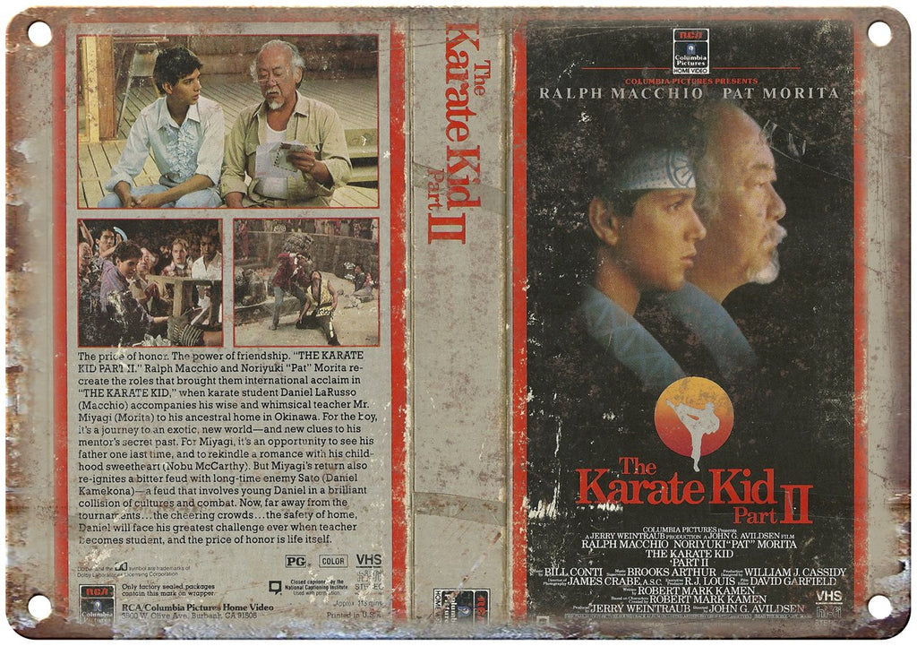 The Karate Kid Part II Ralph Macchio VHS Metal Sign