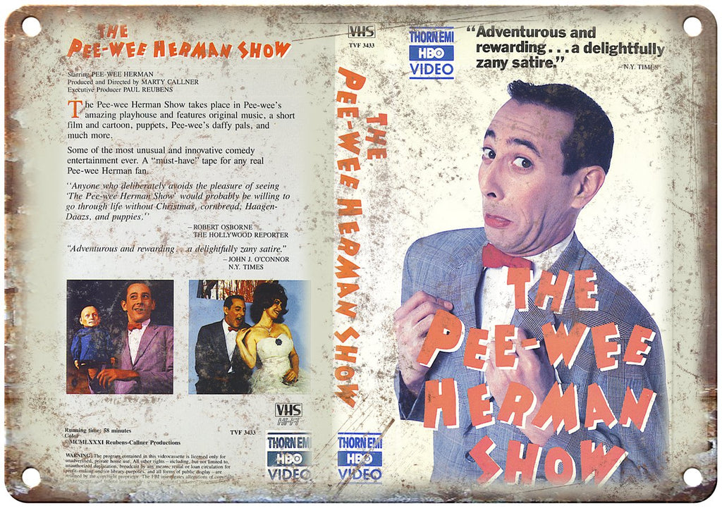 Pee-Wee Herman Show VHS Box Art Thorn EMI Metal Sign