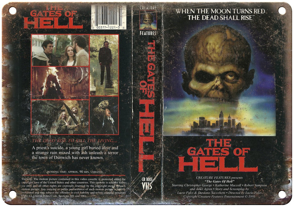 The Gates of Hell VHS Box Cover Art Metal Sign