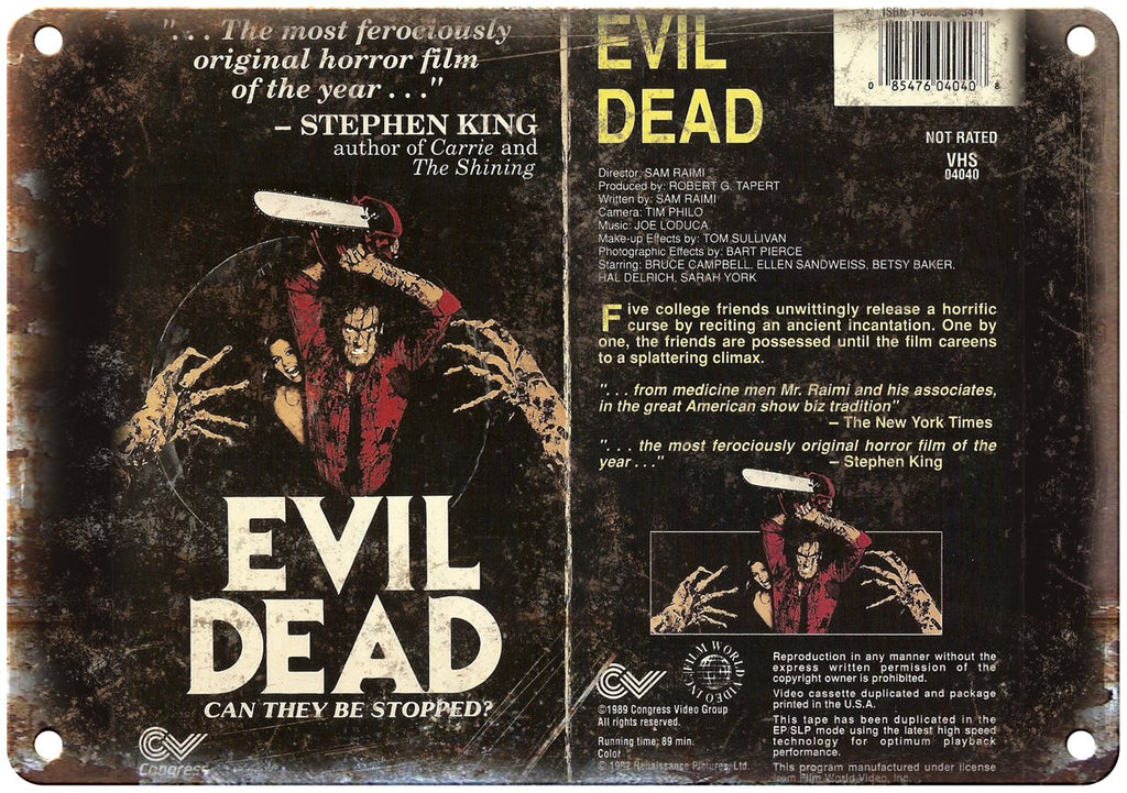 Evil Dead Congress Video Group VHS Box Art Metal Sign